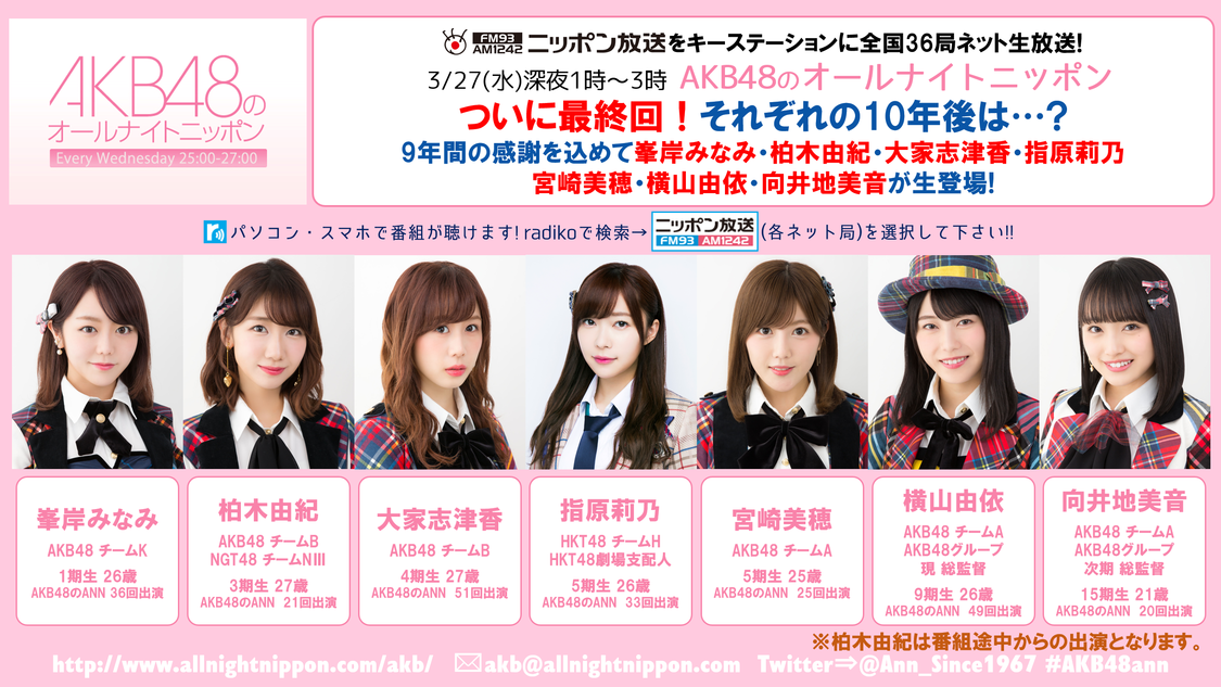 『AKB48のオールナイトニッポン』最終回に峯岸みなみ、柏木由紀、指原莉乃、横山由依ら出演!